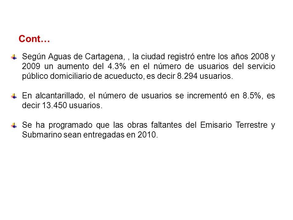 Cont… Según Aguas de Cartagena,, la ciudad registró entre los años 2008 y 2009 un aumento del 4.3% en el número de usuarios del servicio público domiciliario de acueducto, es decir 8.294 usuarios.