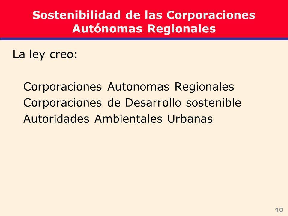 10 Sostenibilidad de las Corporaciones Autónomas Regionales La ley creo: Corporaciones Autonomas Regionales Corporaciones de Desarrollo sostenible Autoridades Ambientales Urbanas