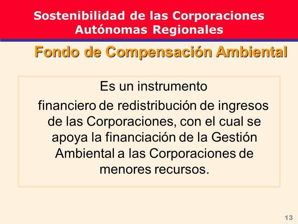 13 Es un instrumento financiero de redistribución de ingresos de las Corporaciones, con el cual se apoya la financiación de la Gestión Ambiental a las Corporaciones de menores recursos.