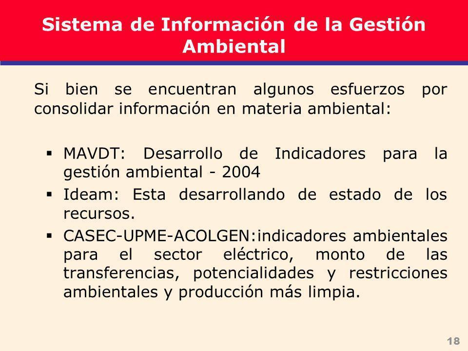 18 Sistema de Información de la Gestión Ambiental Si bien se encuentran algunos esfuerzos por consolidar información en materia ambiental: MAVDT: Desarrollo de Indicadores para la gestión ambiental - 2004 Ideam: Esta desarrollando de estado de los recursos.