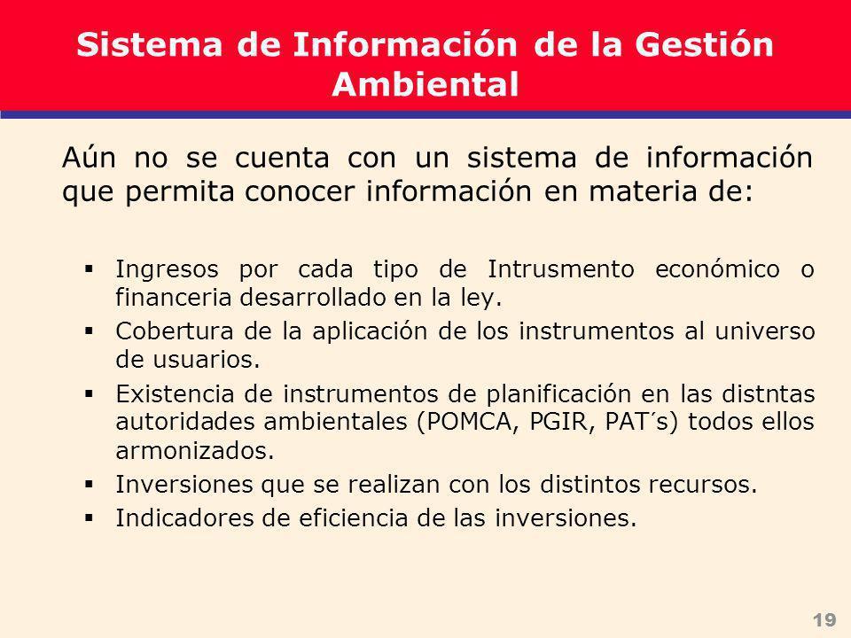 19 Sistema de Información de la Gestión Ambiental Aún no se cuenta con un sistema de información que permita conocer información en materia de: Ingresos por cada tipo de Intrusmento económico o financeria desarrollado en la ley.