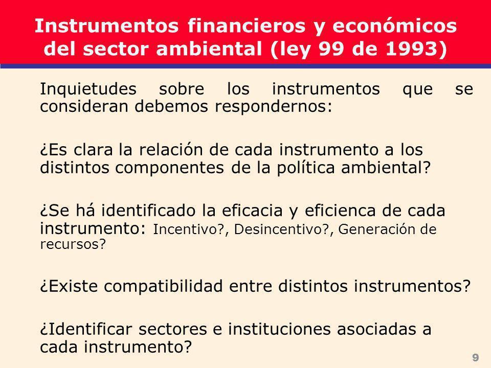 9 Instrumentos financieros y económicos del sector ambiental (ley 99 de 1993) Inquietudes sobre los instrumentos que se consideran debemos respondernos: ¿Es clara la relación de cada instrumento a los distintos componentes de la política ambiental.