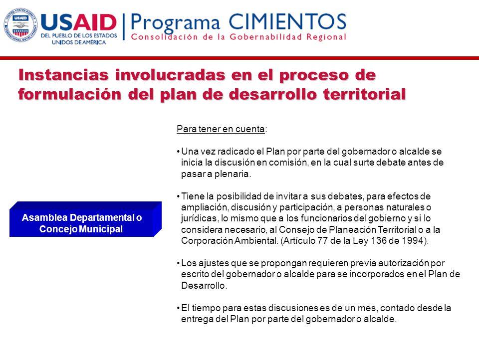 Instancias involucradas en el proceso de formulación del plan de desarrollo territorial Asamblea Departamental o Concejo Municipal Para tener en cuent