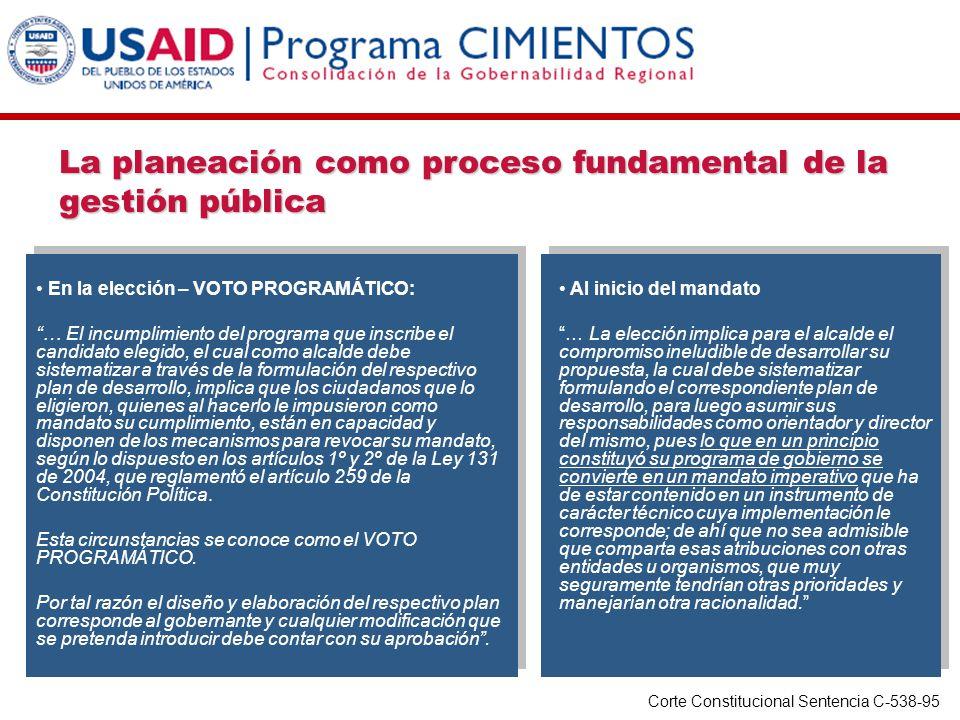 En la elección – VOTO PROGRAMÁTICO: … El incumplimiento del programa que inscribe el candidato elegido, el cual como alcalde debe sistematizar a travé