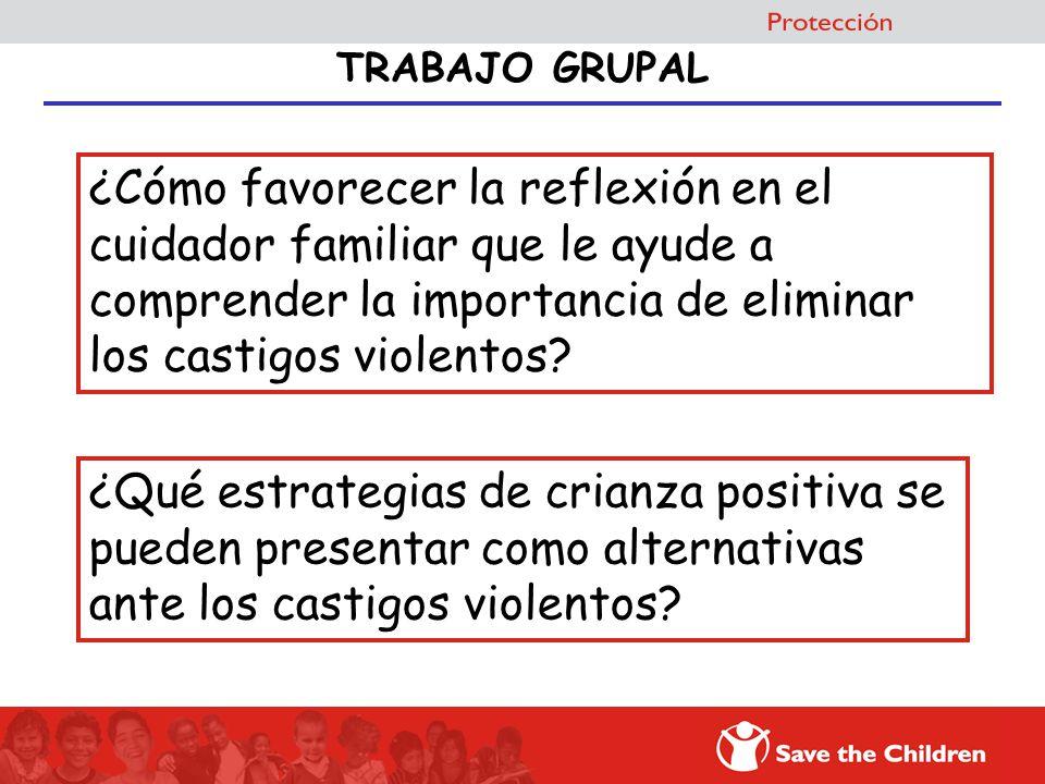 TRABAJO GRUPAL ¿Cómo favorecer la reflexión en el cuidador familiar que le ayude a comprender la importancia de eliminar los castigos violentos? ¿Qué