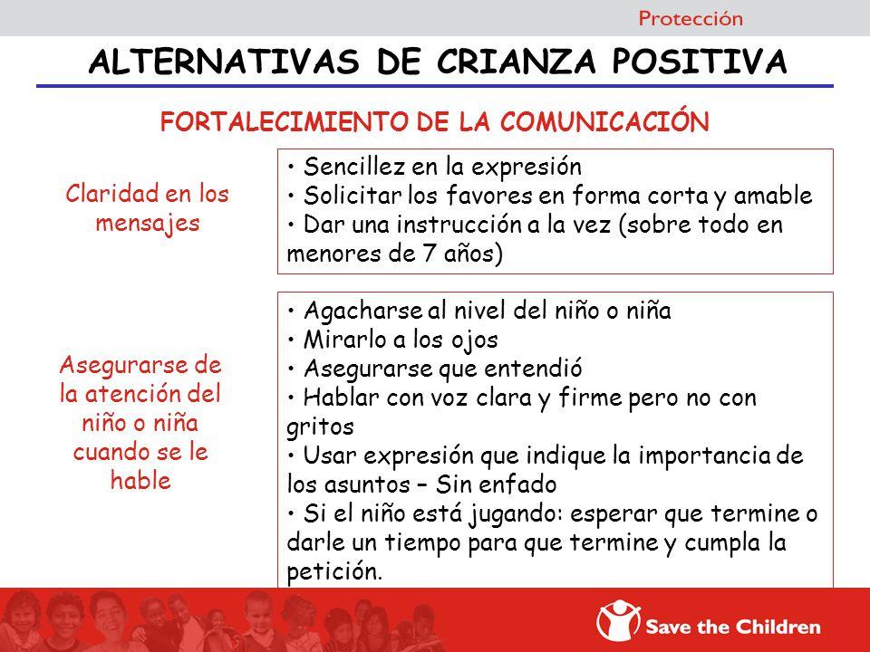 ALTERNATIVAS DE CRIANZA POSITIVA FORTALECIMIENTO DE LA COMUNICACIÓN Sencillez en la expresión Solicitar los favores en forma corta y amable Dar una in