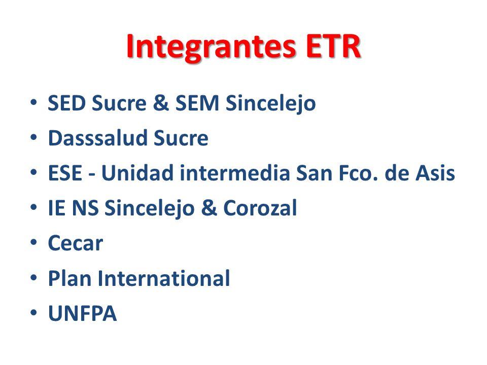 Integrantes ETR SED Sucre & SEM Sincelejo Dasssalud Sucre ESE - Unidad intermedia San Fco.