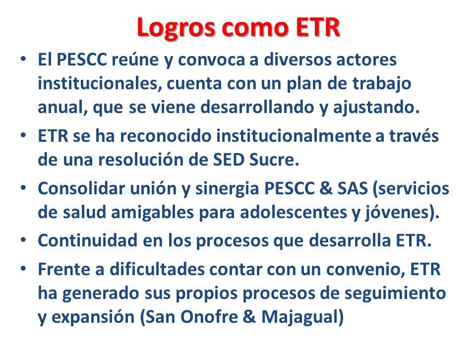 Logros como ETR El PESCC reúne y convoca a diversos actores institucionales, cuenta con un plan de trabajo anual, que se viene desarrollando y ajustando.