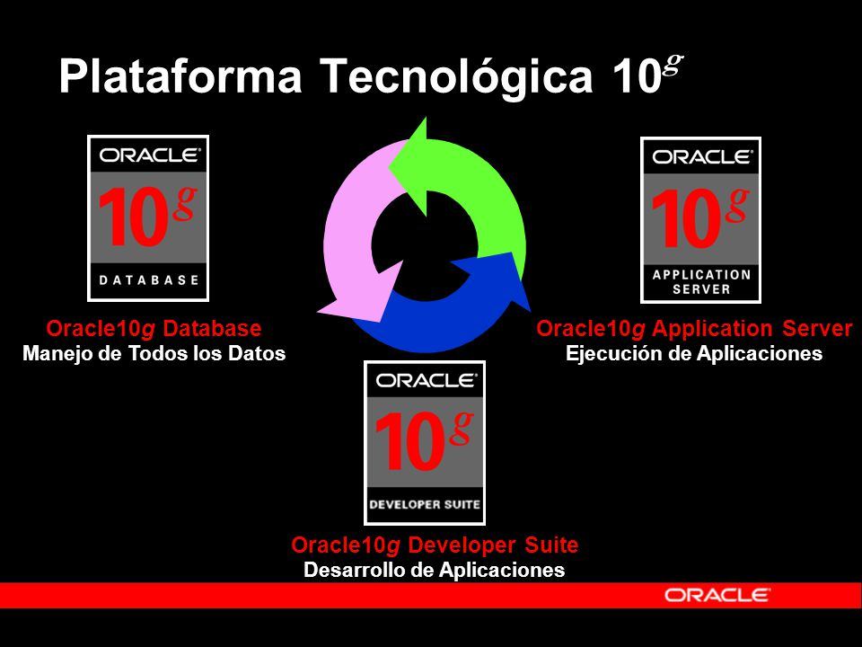 Plataforma Tecnológica 10 g Oracle10g Database Manejo de Todos los Datos Oracle10g Application Server Ejecución de Aplicaciones Oracle10g Developer Su