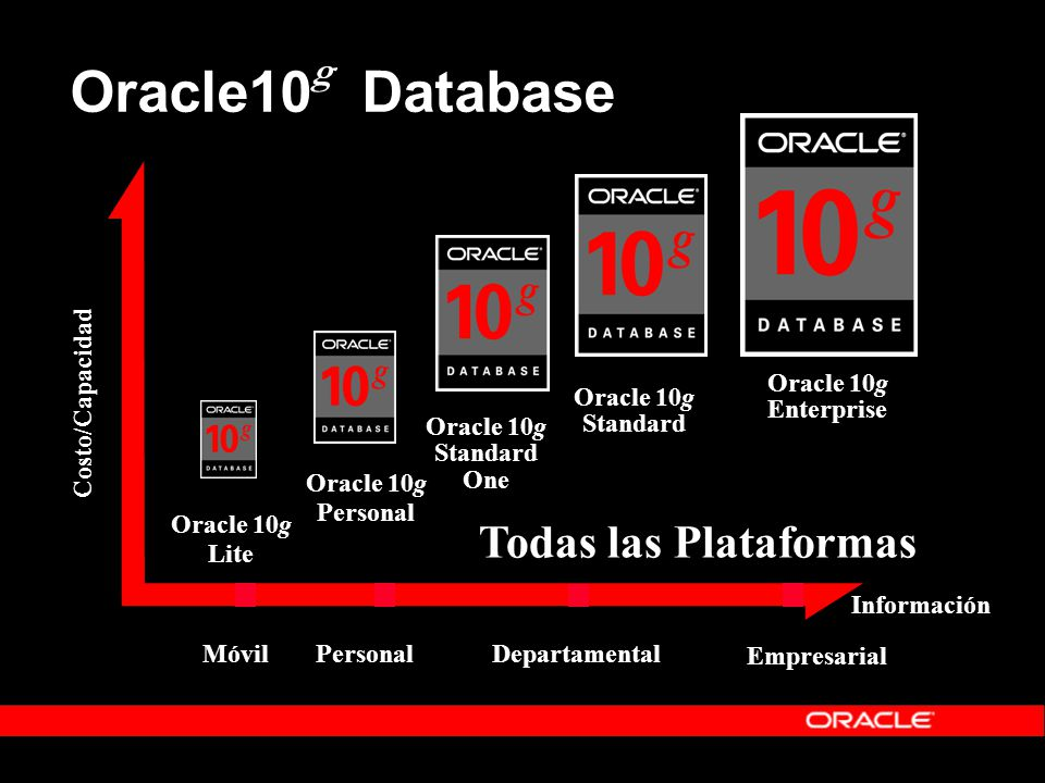 Oracle10 g Database Información Costo/Capacidad Todas las Plataformas DepartamentalEmpresarialPersonalMóvil Oracle 10g Lite Oracle 10g Personal Standard One Oracle 10g Enterprise Standard