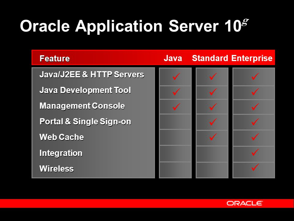 Oracle Application Server 10 g Feature Java/J2EE & HTTP Servers Java Development Tool Management Console Portal & Single Sign-on Web Cache Integration Wireless Feature Java/J2EE & HTTP Servers Java Development Tool Management Console Portal & Single Sign-on Web Cache Integration Wireless JavaStandardEnterprise