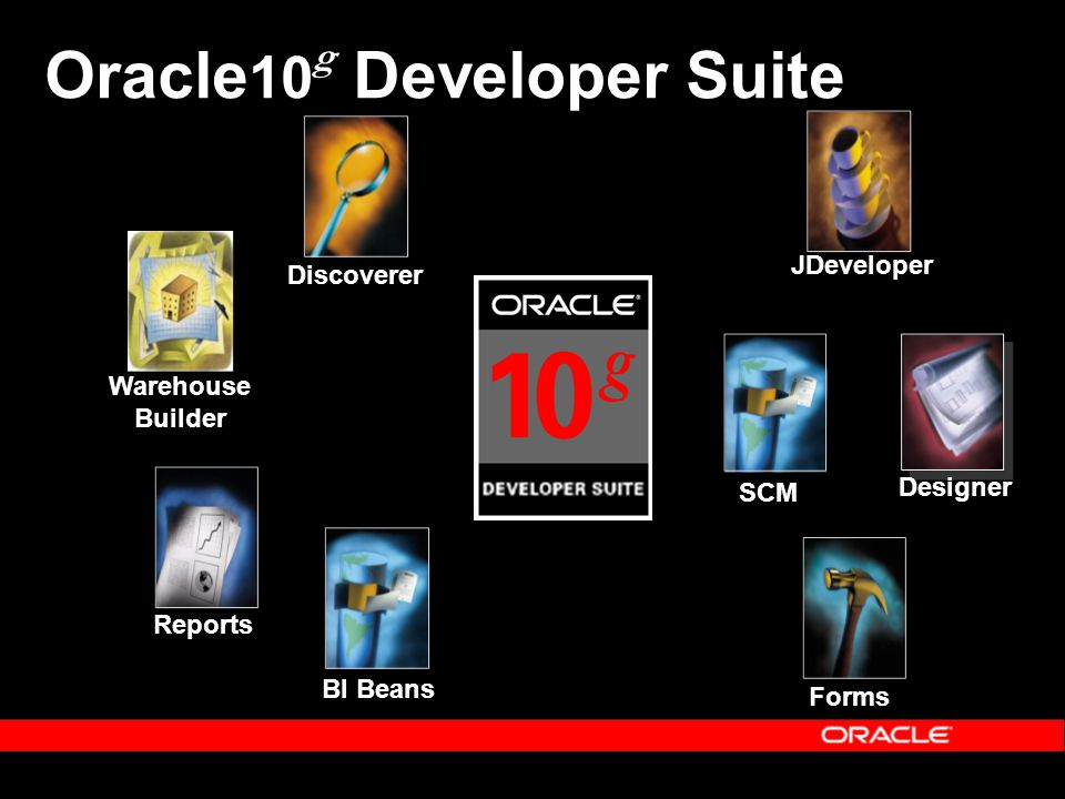 JDeveloper BI Beans Reports Discoverer Warehouse Builder Oracle 10 g Developer Suite Designer Forms SCM
