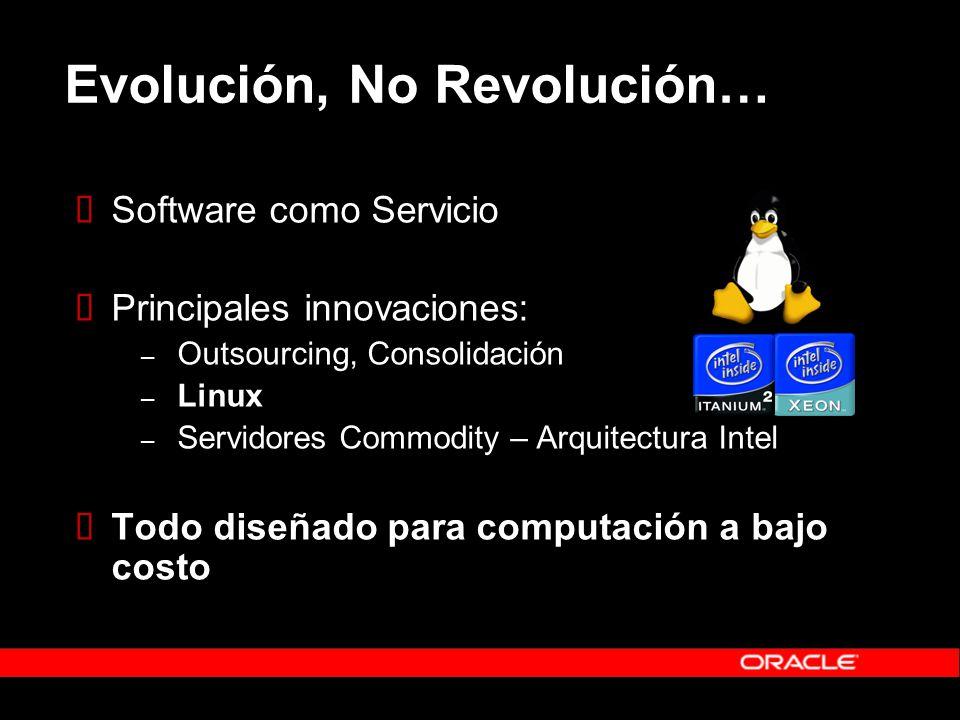 Evolución, No Revolución… Software como Servicio Principales innovaciones: – Outsourcing, Consolidación – Linux – Servidores Commodity – Arquitectura