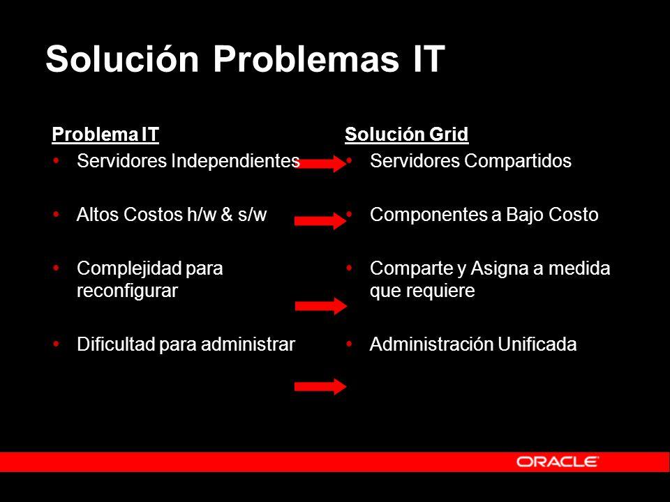 Solución Problemas IT Problema IT Servidores Independientes Altos Costos h/w & s/w Complejidad para reconfigurar Dificultad para administrar Solución