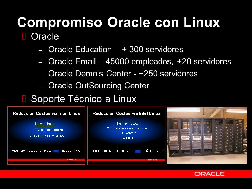 Compromiso Oracle con Linux Oracle – Oracle Education – + 300 servidores – Oracle Email – 45000 empleados, +20 servidores – Oracle Demos Center - +250 servidores – Oracle OutSourcing Center Soporte Técnico a Linux