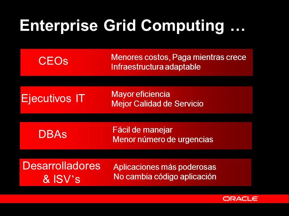 Enterprise Grid Computing … CEOs Menores costos, Paga mientras crece Infraestructura adaptable Ejecutivos IT Mayor eficiencia Mejor Calidad de Servici