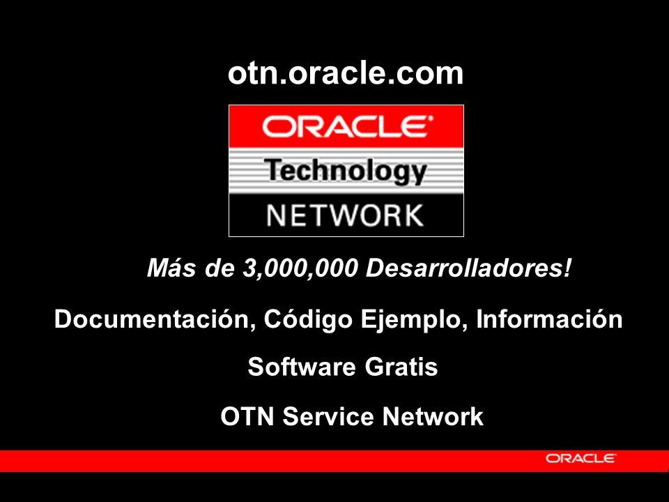 otn.oracle.com Más de 3,000,000 Desarrolladores! Software Gratis OTN Service Network Documentación, Código Ejemplo, Información