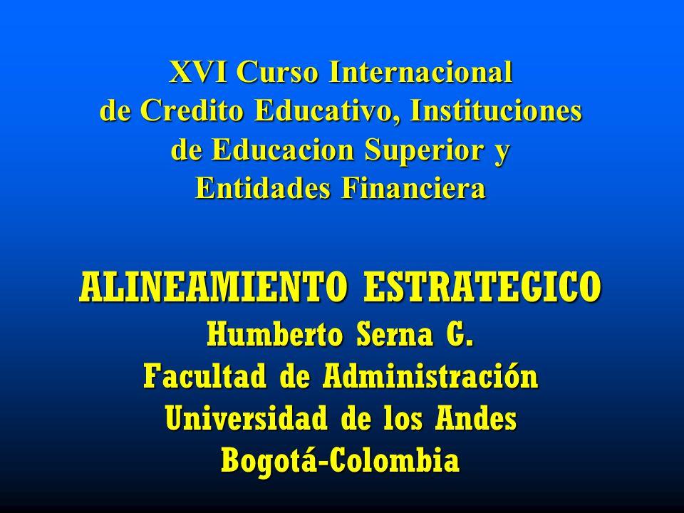 XVI Curso Internacional de Credito Educativo, Instituciones de Educacion Superior y Entidades Financiera ALINEAMIENTO ESTRATEGICO Humberto Serna G. Fa