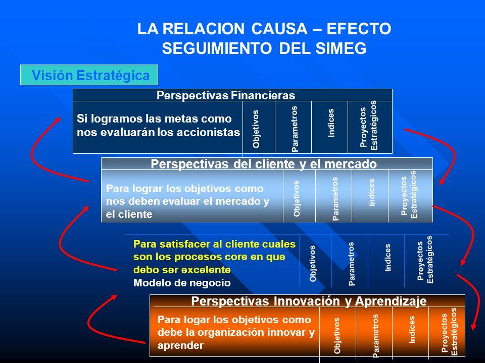 LA RELACION CAUSA – EFECTO SEGUIMIENTO DEL SIMEG Visión Estratégica Perspectivas Financieras Si logramos las metas como nos evaluarán los accionistas