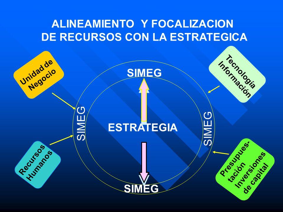ALINEAMIENTO Y FOCALIZACION DE RECURSOS CON LA ESTRATEGICA Tecnología Información Presupues- tación Inversiones de capital Recursos Humanos Unidad de