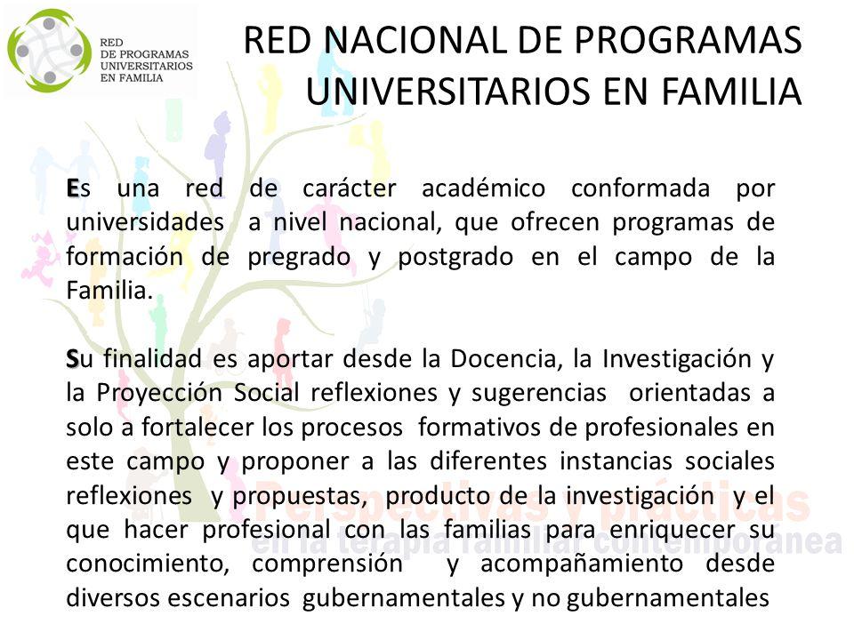 RED NACIONAL DE PROGRAMAS UNIVERSITARIOS EN FAMILIA E Es una red de carácter académico conformada por universidades a nivel nacional, que ofrecen programas de formación de pregrado y postgrado en el campo de la Familia.