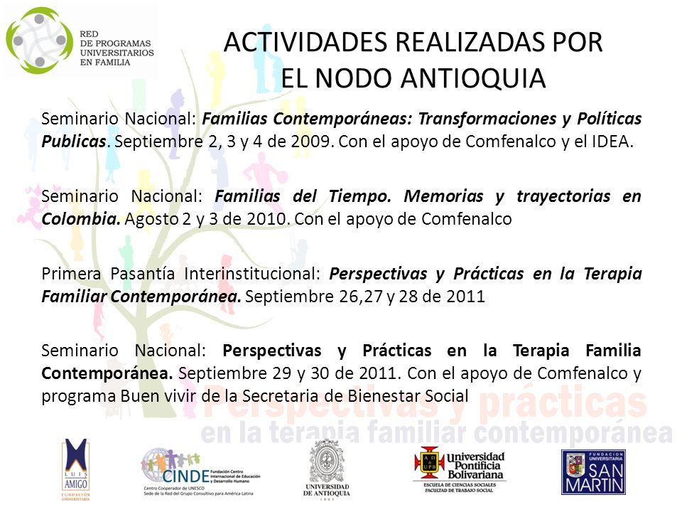 ACTIVIDADES REALIZADAS POR EL NODO ANTIOQUIA Seminario Nacional: Familias Contemporáneas: Transformaciones y Políticas Publicas.
