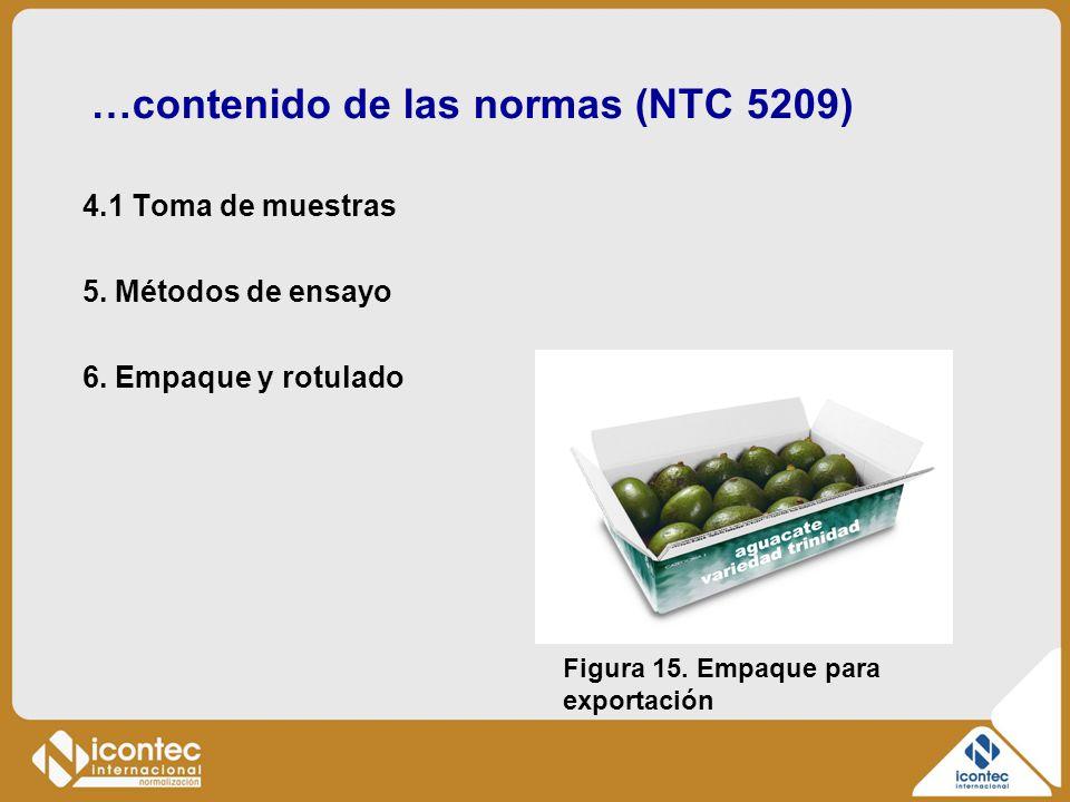 …contenido de las normas (NTC 5209) 4.1 Toma de muestras 5. Métodos de ensayo 6. Empaque y rotulado Figura 15. Empaque para exportación
