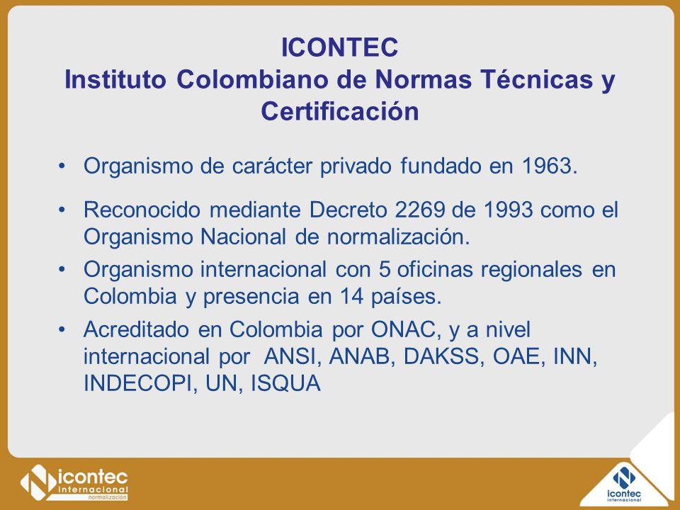ICONTEC Instituto Colombiano de Normas Técnicas y Certificación Organismo de carácter privado fundado en 1963. Reconocido mediante Decreto 2269 de 199