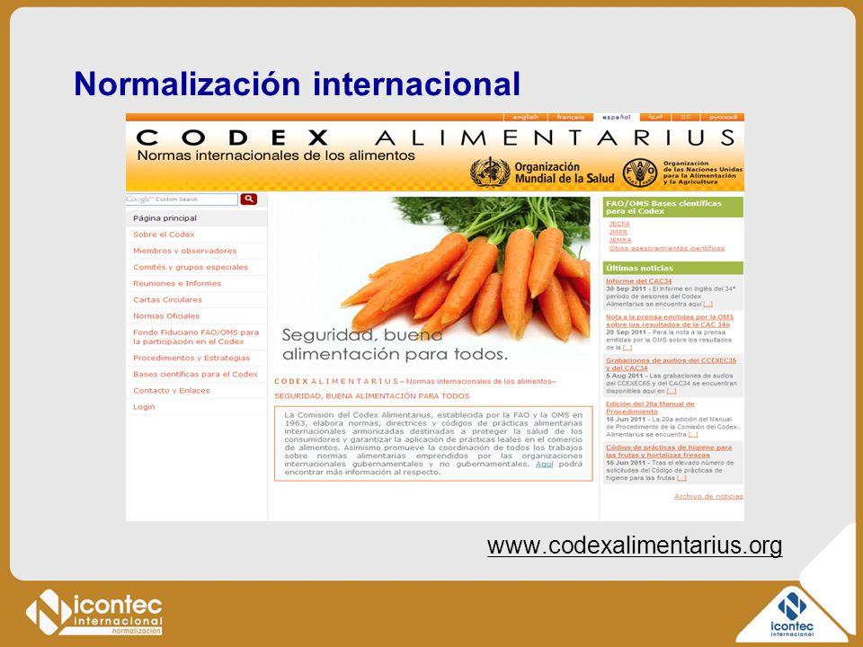 Normalización internacional www.codexalimentarius.org