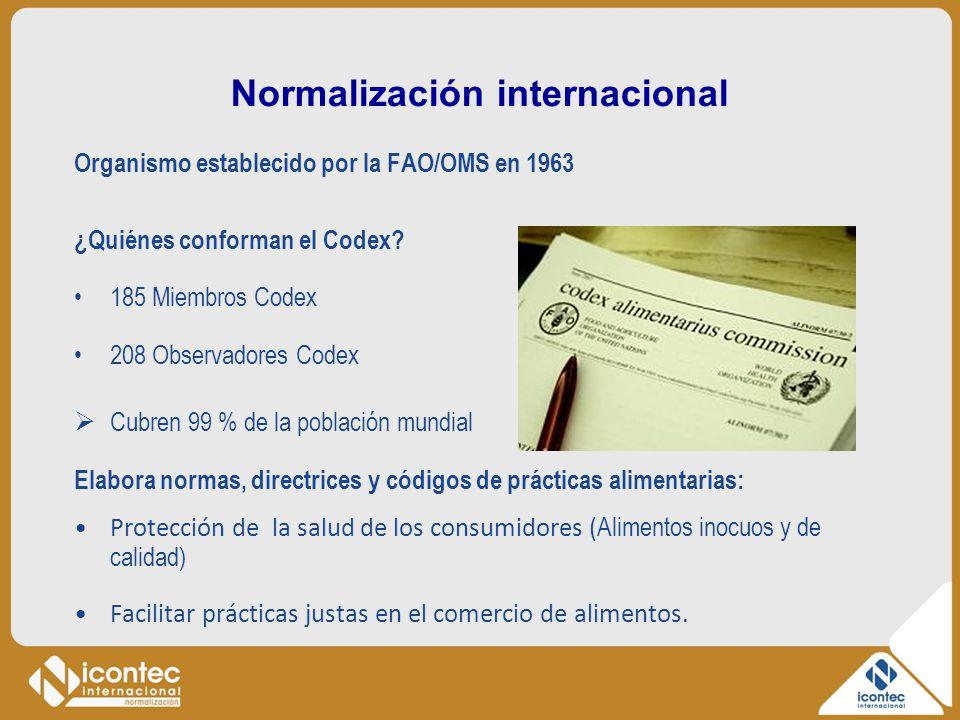 Normalización internacional Organismo establecido por la FAO/OMS en 1963 ¿Quiénes conforman el Codex? 185 Miembros Codex 208 Observadores Codex Cubren