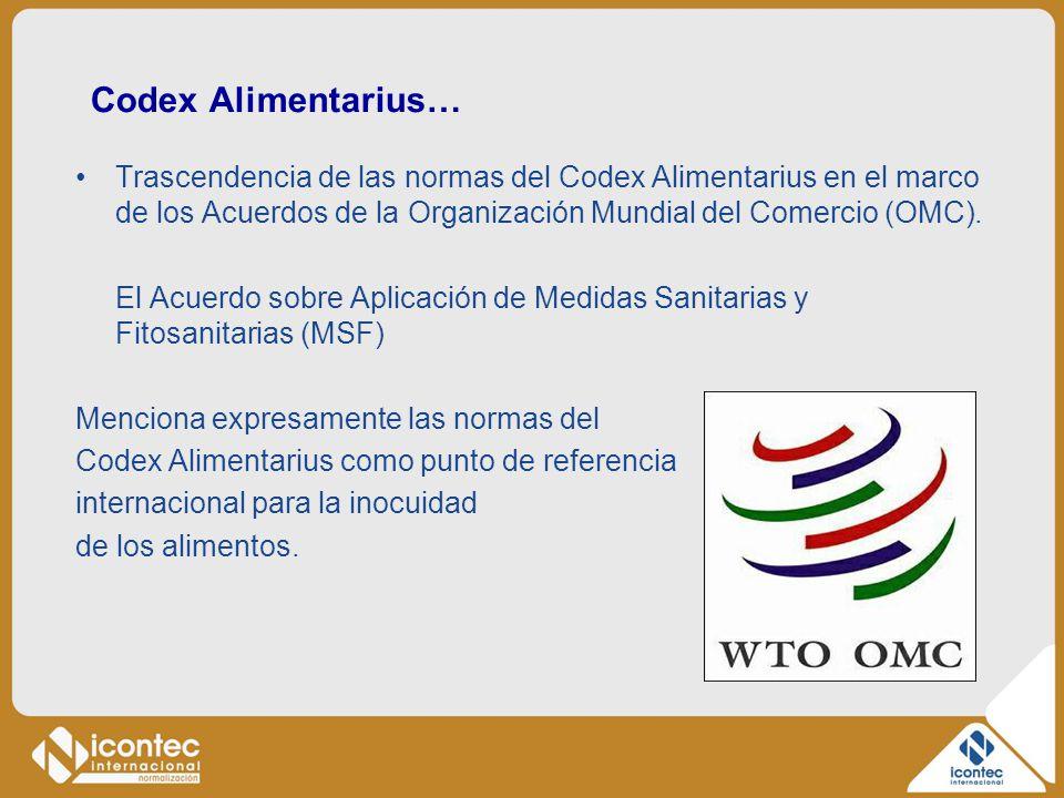Codex Alimentarius… Trascendencia de las normas del Codex Alimentarius en el marco de los Acuerdos de la Organización Mundial del Comercio (OMC). El A
