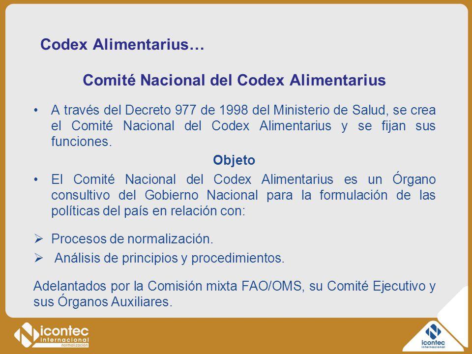 Codex Alimentarius… Comité Nacional del Codex Alimentarius A través del Decreto 977 de 1998 del Ministerio de Salud, se crea el Comité Nacional del Co