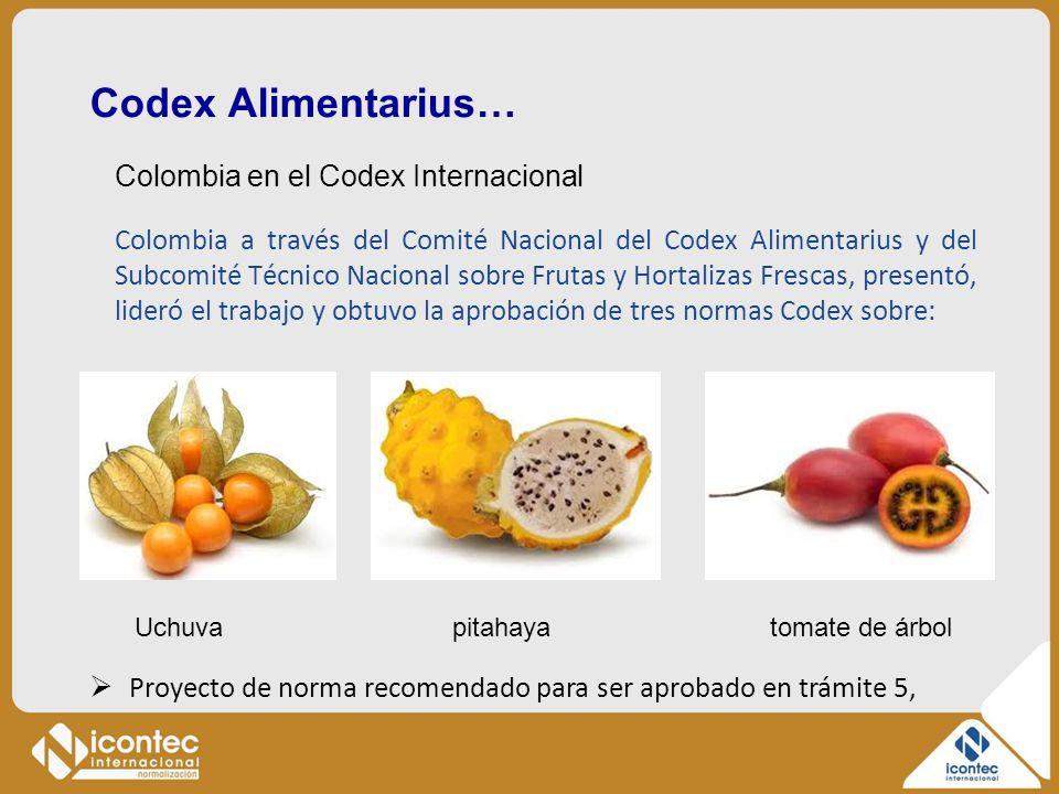 Codex Alimentarius… Colombia en el Codex Internacional Colombia a través del Comité Nacional del Codex Alimentarius y del Subcomité Técnico Nacional s