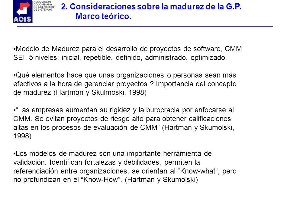 2. Consideraciones sobre la madurez de la G.P. Marco teórico. Modelo de Madurez para el desarrollo de proyectos de software, CMM SEI. 5 niveles: inici