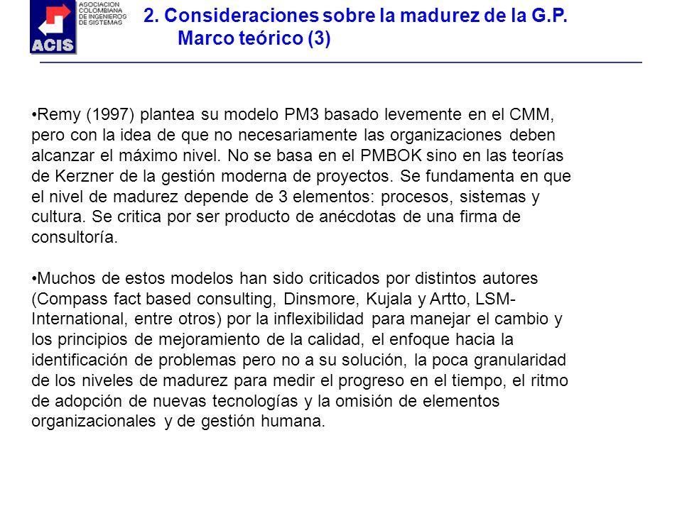 2. Consideraciones sobre la madurez de la G.P. Marco teórico (3) Remy (1997) plantea su modelo PM3 basado levemente en el CMM, pero con la idea de que