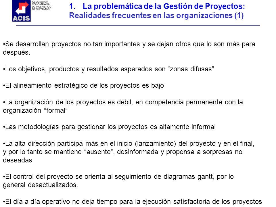 1.La problemática de la Gestión de Proyectos: Realidades frecuentes en las organizaciones (1) Se desarrollan proyectos no tan importantes y se dejan o