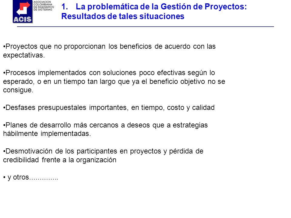 1.La problemática de la Gestión de Proyectos: Resultados de tales situaciones Proyectos que no proporcionan los beneficios de acuerdo con las expectat