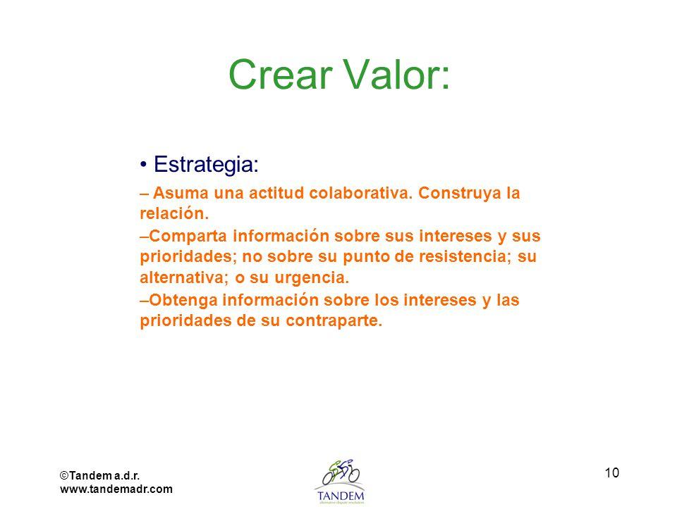 ©Tandem a.d.r. www.tandemadr.com 10 Crear Valor: Estrategia: – Asuma una actitud colaborativa. Construya la relación. –Comparta información sobre sus