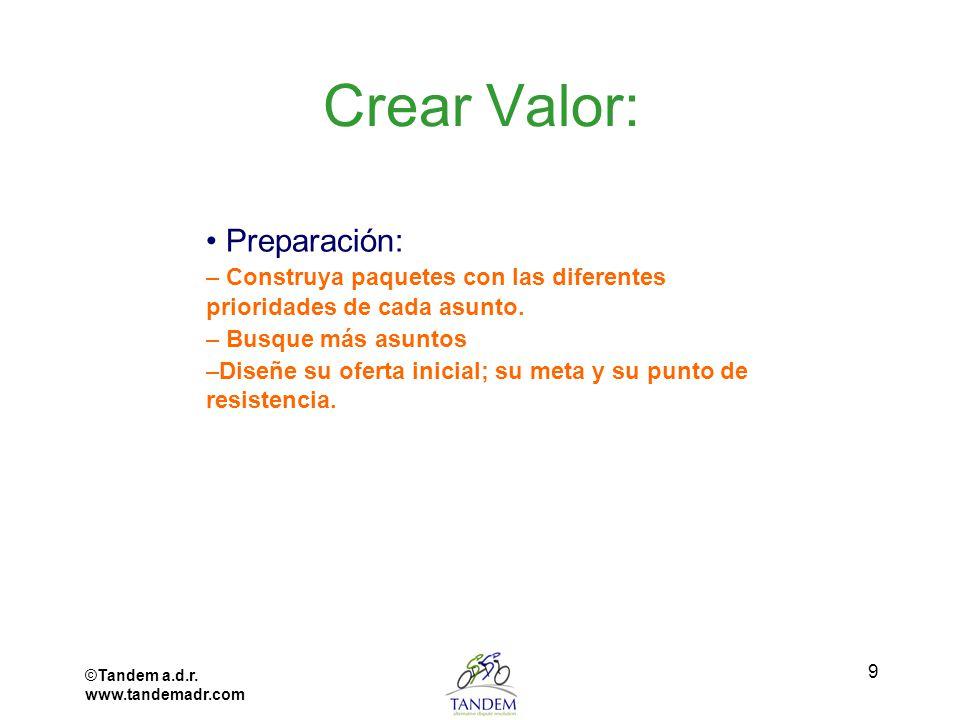 ©Tandem a.d.r. www.tandemadr.com 9 Crear Valor: Preparación: – Construya paquetes con las diferentes prioridades de cada asunto. – Busque más asuntos