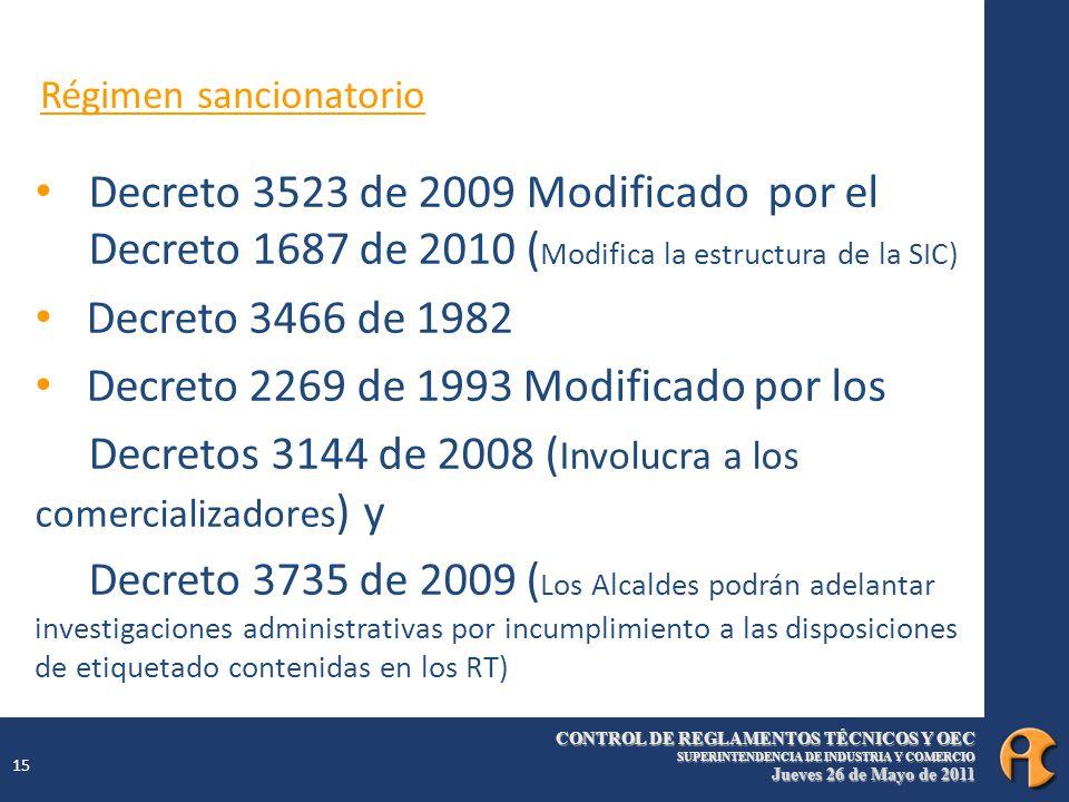 CONTROL DE REGLAMENTOS TÉCNICOS Y OEC SUPERINTENDENCIA DE INDUSTRIA Y COMERCIO Jueves 26 de Mayo de 2011 15 Régimen sancionatorio Decreto 3523 de 2009 Modificado por el Decreto 1687 de 2010 ( Modifica la estructura de la SIC) Decreto 3466 de 1982 Decreto 2269 de 1993 Modificado por los Decretos 3144 de 2008 ( Involucra a los comercializadores ) y Decreto 3735 de 2009 ( Los Alcaldes podrán adelantar investigaciones administrativas por incumplimiento a las disposiciones de etiquetado contenidas en los RT)