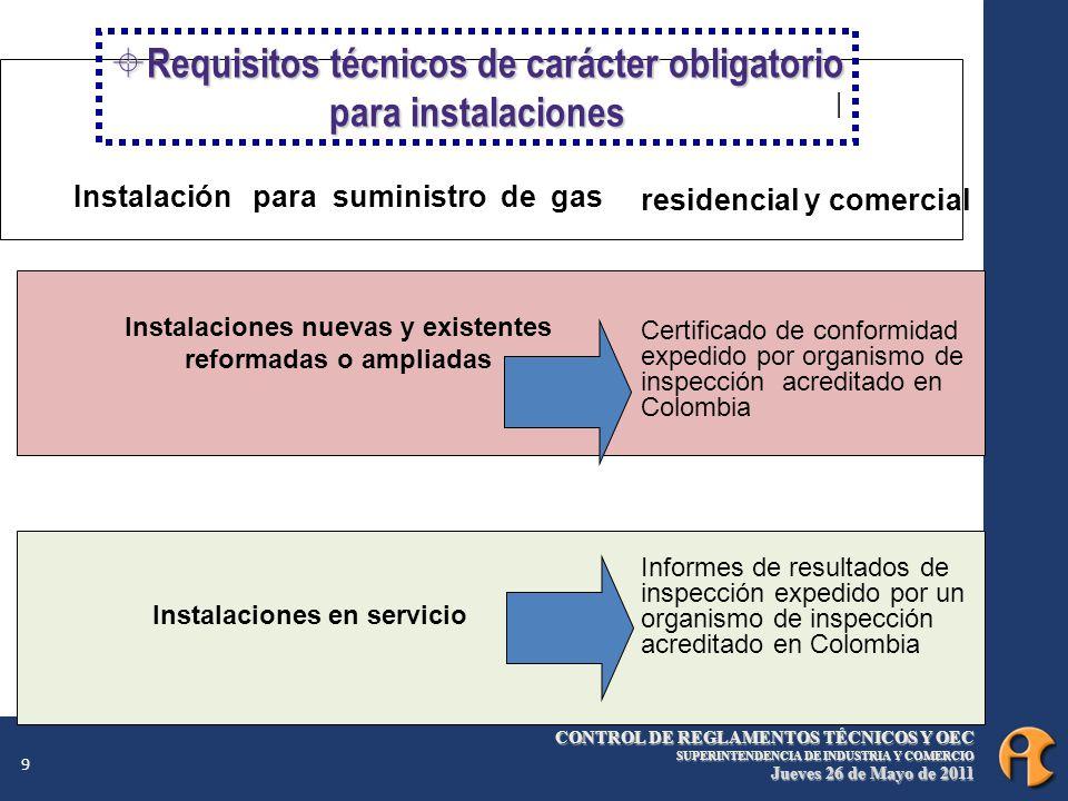 CONTROL DE REGLAMENTOS TÉCNICOS Y OEC SUPERINTENDENCIA DE INDUSTRIA Y COMERCIO Jueves 26 de Mayo de 2011 9 Instalación para suministro de gas Instalaciones nuevas y existentes reformadas o ampliadas Instalaciones en servicio | residencial y comercial Certificado de conformidad expedido por organismo de inspección acreditado en Colombia Informes de resultados de inspección expedido por un organismo de inspección acreditado en Colombia Requisitos técnicos de carácter obligatorio para instalaciones Requisitos técnicos de carácter obligatorio para instalaciones