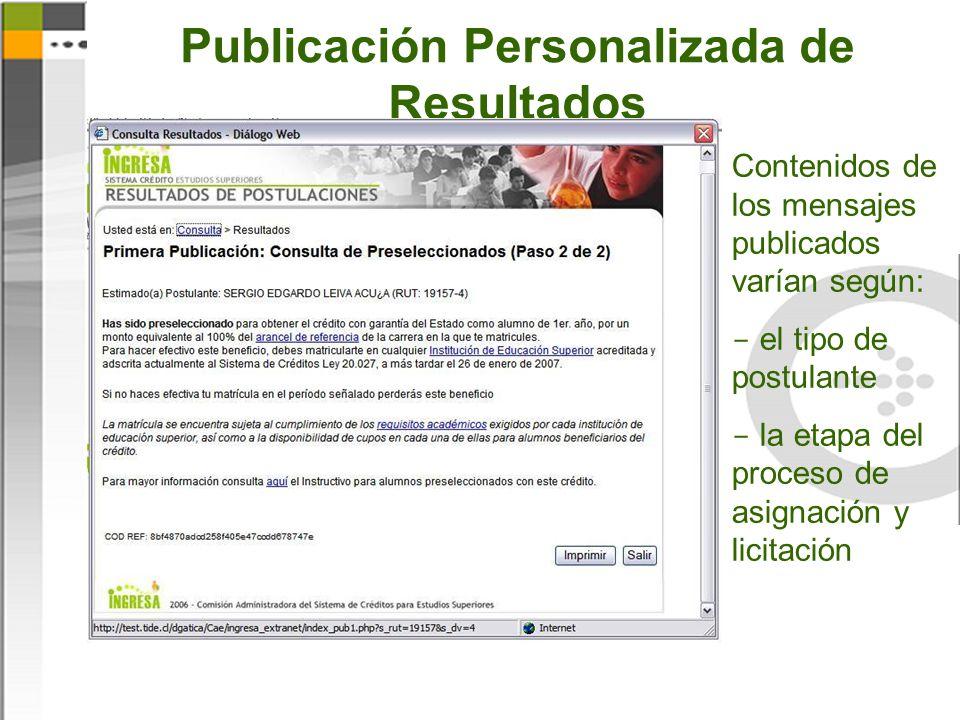 Publicación Personalizada de Resultados Contenidos de los mensajes publicados varían según:  el tipo de postulante  la etapa del proceso de asignación y licitación