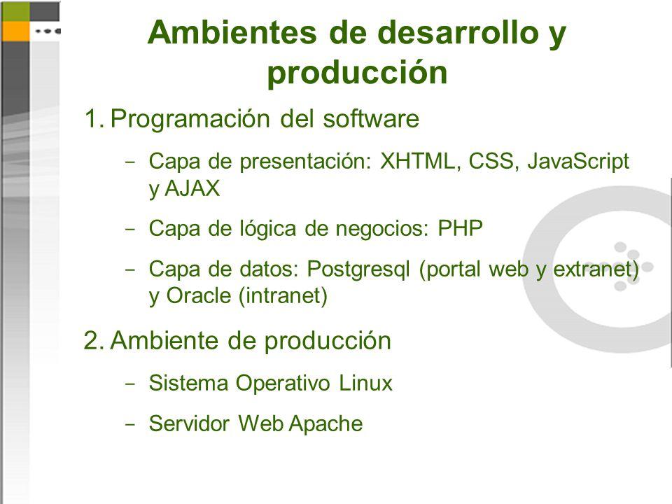 Ambientes de desarrollo y producción 1.Programación del software  Capa de presentación: XHTML, CSS, JavaScript y AJAX  Capa de lógica de negocios: PHP  Capa de datos: Postgresql (portal web y extranet) y Oracle (intranet) 2.Ambiente de producción  Sistema Operativo Linux  Servidor Web Apache
