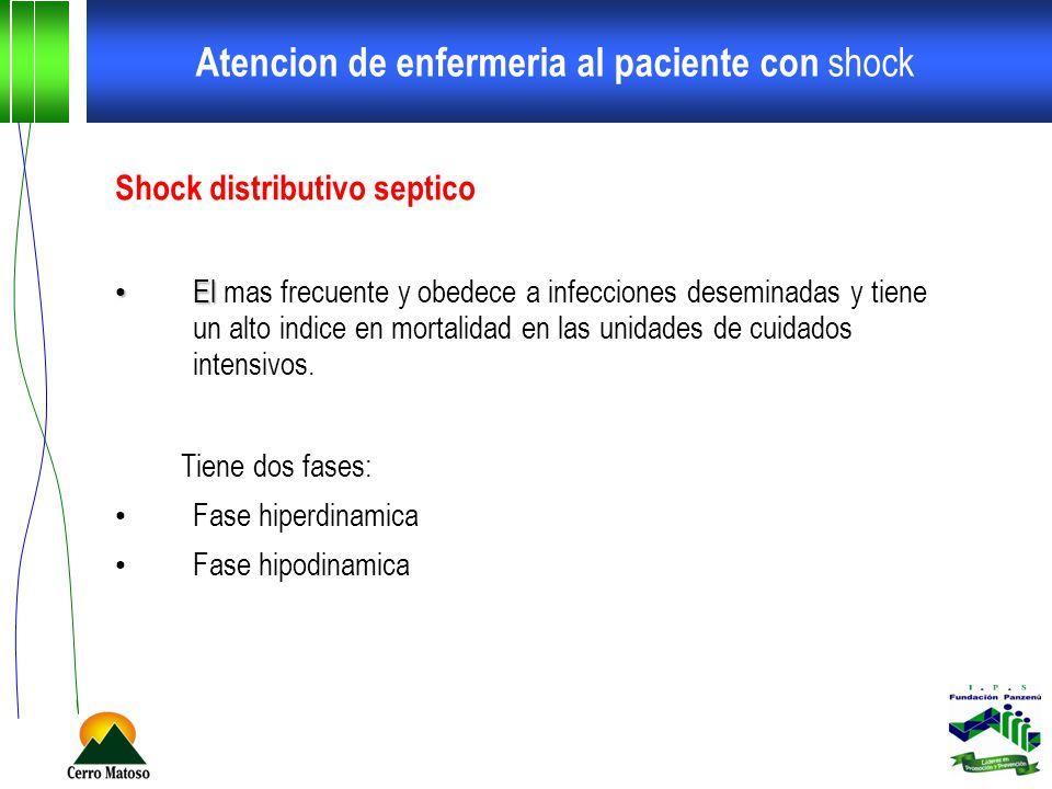 Atencion de enfermeria al paciente con shock Shock distributivo septico El El mas frecuente y obedece a infecciones deseminadas y tiene un alto indice