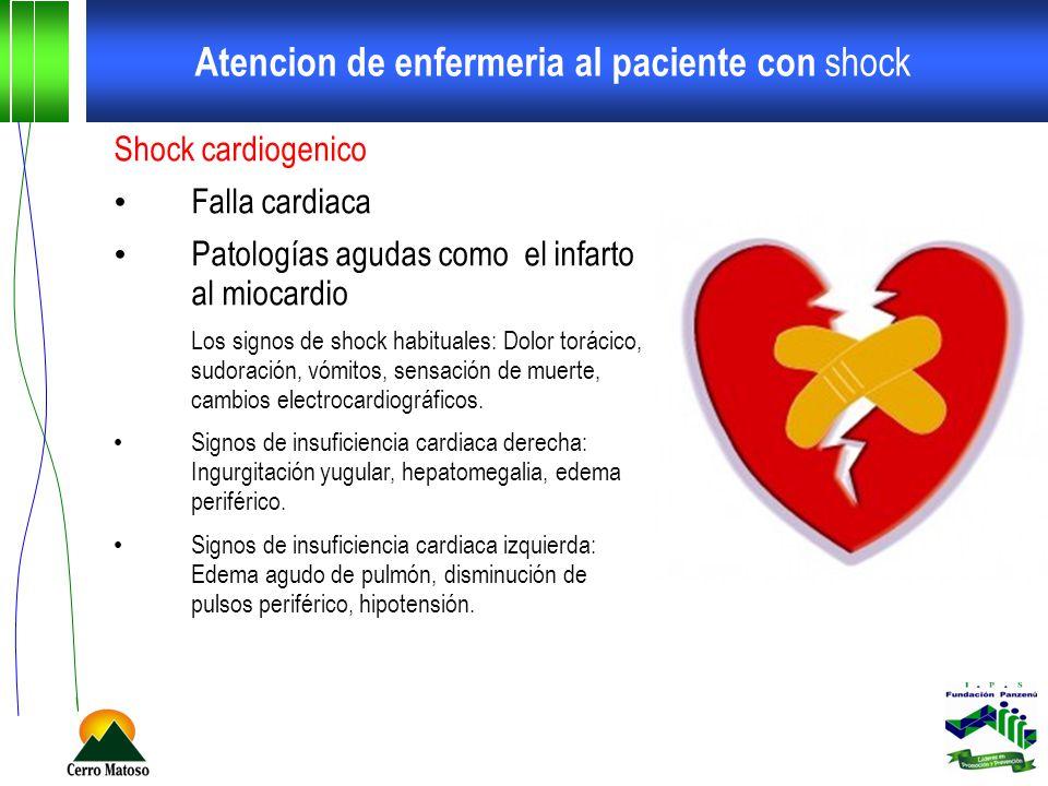 Atencion de enfermeria al paciente con shock Shock cardiogenico Falla cardiaca Patologías agudas como el infarto al miocardio Los signos de shock habi