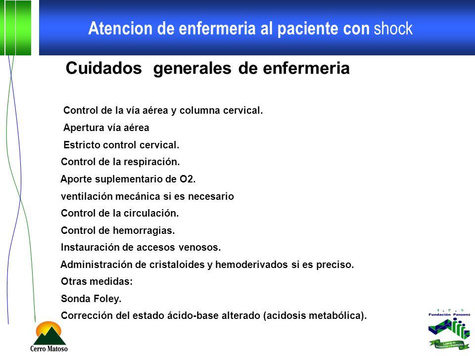 Atencion de enfermeria al paciente con shock Cuidados generales de enfermeria Control de la vía aérea y columna cervical. Apertura vía aérea Estricto