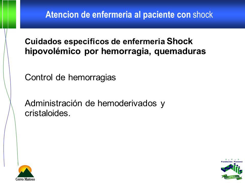 Atencion de enfermeria al paciente con shock Cuidados especificos de enfermeria Shock hipovolémico por hemorragia, quemaduras Control de hemorragias A