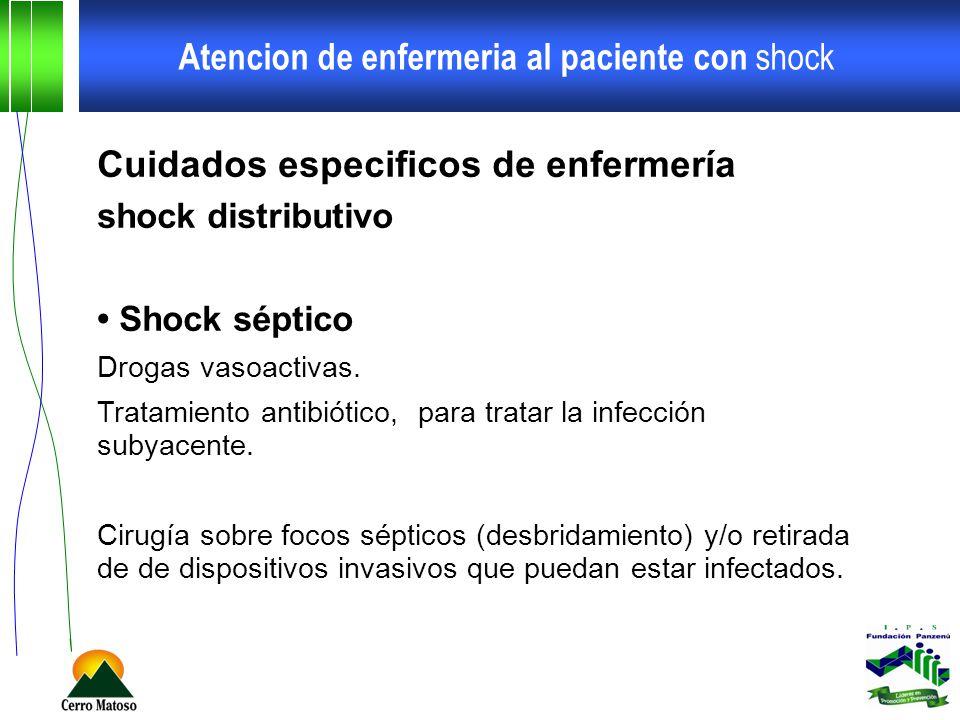 Atencion de enfermeria al paciente con shock Cuidados especificos de enfermería shock distributivo Shock séptico Drogas vasoactivas. Tratamiento antib