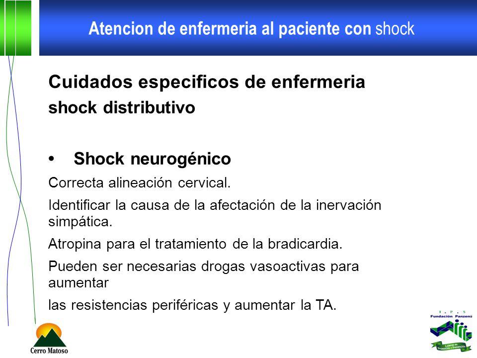Atencion de enfermeria al paciente con shock Cuidados especificos de enfermeria shock distributivo Shock neurogénico Correcta alineación cervical. Ide