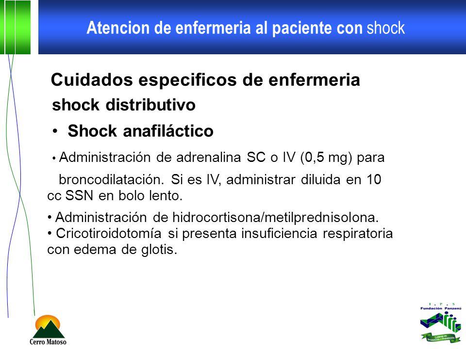 Atencion de enfermeria al paciente con shock Cuidados especificos de enfermeria shock distributivo Shock anafiláctico Administración de adrenalina SC